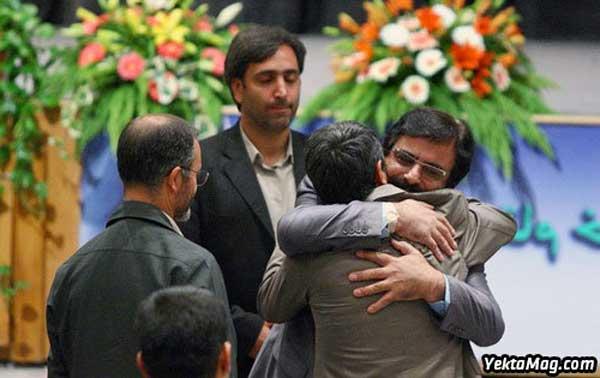 به آغوش گرفتن احمدینژاد و علیرضا افتخاری