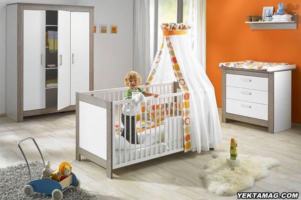 مدل تخت و کمد نوزاد با رنگ نارنجی