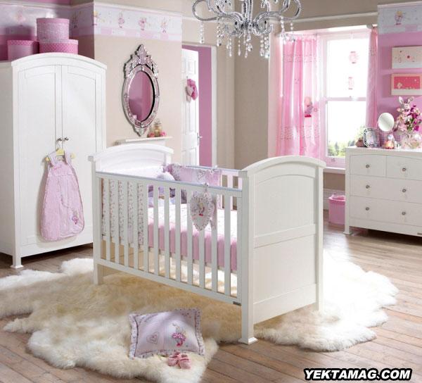 مدل تخت و کمد نوزاد با رنگ صورتی