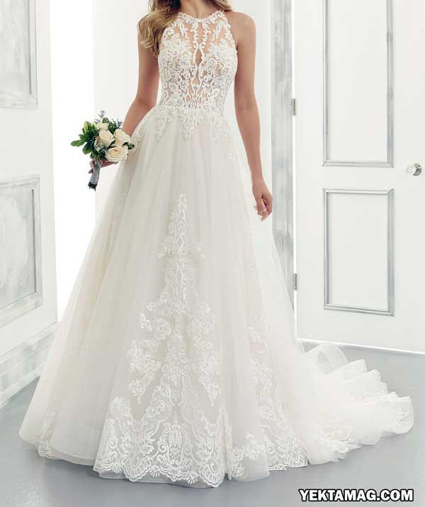 مدل لباس عروس دکلته و یقه دلبری
